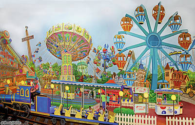 Rollercoaster Painting - Adventureland by Bonnie Siracusa