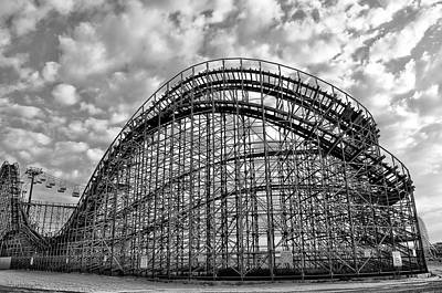 Roller Coaster Digital Art - Adventureland Pier Rollercoaster - Wildwood New Jersey by Bill Cannon