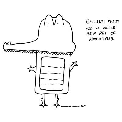 Alligator Drawing - Adventures Comic by Karl Addison