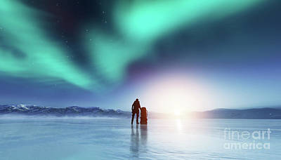 Photograph - Adventurous Man Standing With A Backpack, Looking At Aurora. by Michal Bednarek
