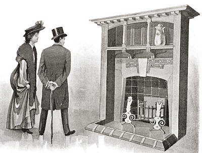 Grate Drawing - Advertisement For A Fireplace. From The by Vintage Design Pics