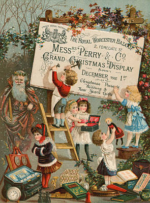 Santa Claus Painting - Advertisement For The Royal Worcester Bazaar by English School