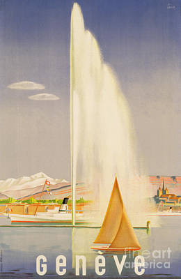 Fountain Painting - Advertisement For Travel To Geneva by Fehr