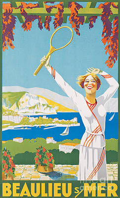 Tennis Racket Drawing - Advertising Poster For Beaulieu-sur-mer by French School