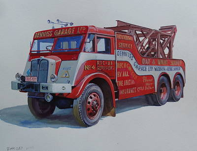 Art Print featuring the painting Aec Militant Dennis's. by Mike Jeffries