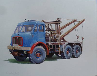 Art Print featuring the painting Aec Militant Wrecker. by Mike Jeffries
