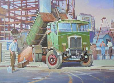 Painting - Aec Monarch On Building Site. by Mike Jeffries