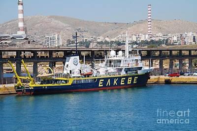 Photograph - Aegaeo Research Vessel At Piraeus by David Fowler