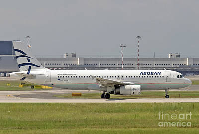Print featuring the photograph Aegean Airbus A320 Sx-dvt  by Amos Dor