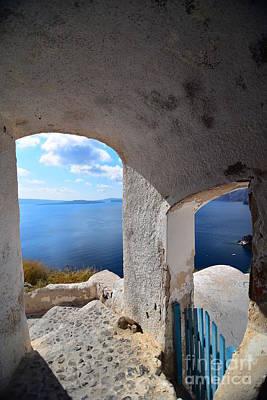 Winter Animals - Aegean Sea View from Door in Santorini by Mu Yee Ting