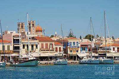 Photograph - Aegina Town Seafront In Greece by David Fowler