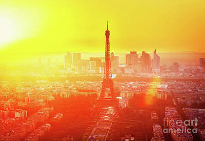 Paris Skyline Royalty-Free and Rights-Managed Images - Sunset in Paris  by Anastasy Yarmolovich