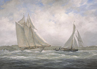 Shipping Painting - Aello Beta And Marigold Off The Isle Of Wight by Richard Willis