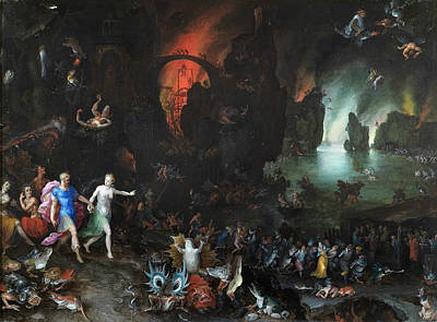 Hades Painting - Aeneas And Sibyl In The Underworld by Jan Brueghel the Elder