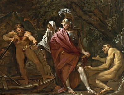 River Styx Painting - Aeneas On The Bank Of The River Styx by Pietro Testa