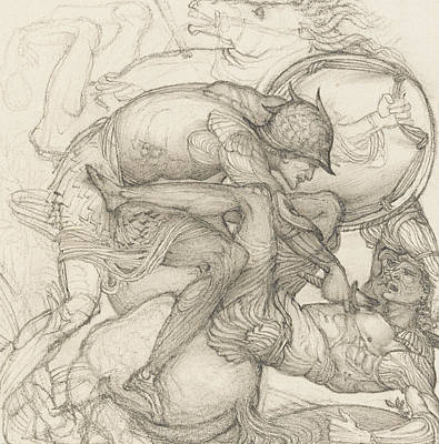 Aeneas Slaying Mezentius Art Print by Sir Edward Coley Burne-Jones