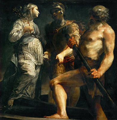 Charon Painting - Aeneas The Sibyl And Charon by Giuseppe Maria Crespi