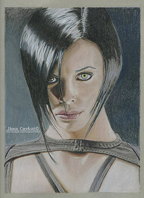Charlize Wall Art - Drawing - Aeon Flux Artwork by Janos Cserkuti