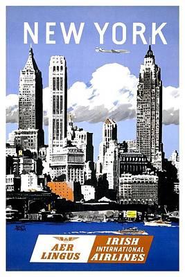 Cities Mixed Media - AER Lingus - Irish International Airlines - New York - Retro travel Poster - Vintage Poster by Studio Grafiikka