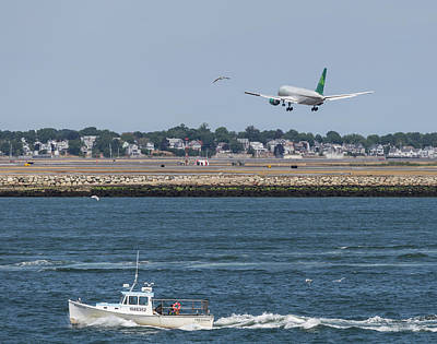 Photograph - Aer Lingus Landing At Logan Airport by Brian MacLean