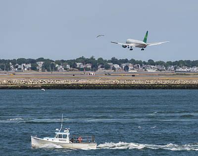 Photograph - Aer Lingus Landing At Logan Airport by Brian MacLean
