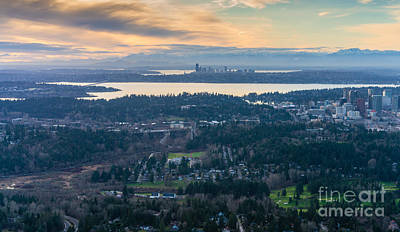 Skylines Royalty-Free and Rights-Managed Images - Aerial Bellevue and Seattle Skylines by Mike Reid