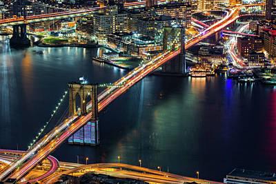 Photograph - Aerial Brooklyn Bridge by Mihai Andritoiu