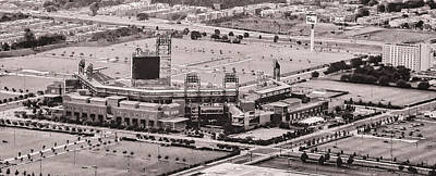 Aerial - Citizens Bank Park In Black And White Art Print by Bill Cannon