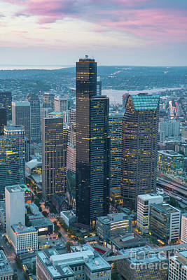 Photograph - Aerial Columbia Center Seattle by Mike Reid