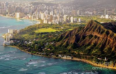 Photograph - Aerial - Diamond Head Crater - Honolulu, Hawaii # 932 by D Davila
