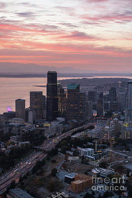 Photograph - Aerial Downtown Seattle At Sunset by Mike Reid