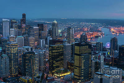 Photograph - Aerial Downtown Seattle Dusk Details by Mike Reid