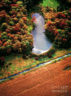 Photograph - Aerial Farm Big Foot Pond by Tom Jelen