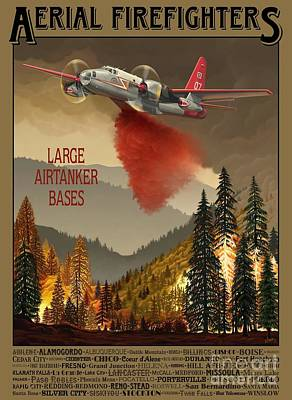 Painting - Aerial Firefighters Large Airtanker Bases by Airtanker Art