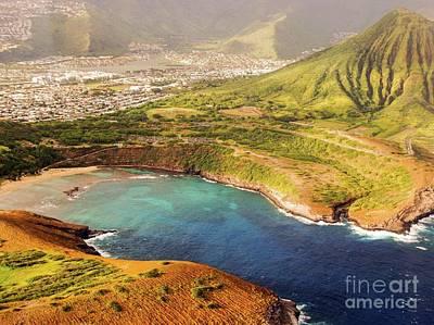 Photograph - Aerial - Hanauma Bay Beach Park - Koko Head Crater - Honolulu by D Davila