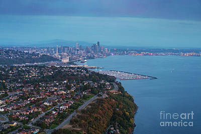 Photograph - Aerial Magnolia Bluff And Seattle by Mike Reid