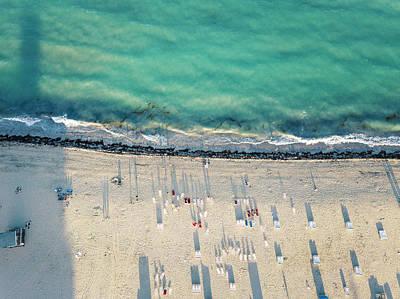 Florida Beach Photograph - Aerial Miami Beach Sunset by Lorrie Joaus