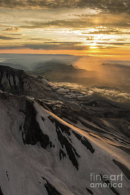 Photograph - Aerial Mount St Helens Crater And Sunrays Beyond by Mike Reid