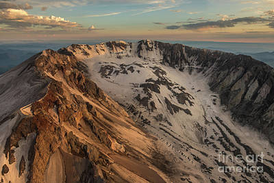 Photograph - Aerial Mount St Helens Crater Closeup by Mike Reid