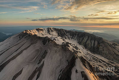 Photograph - Aerial Mount St Helens Crater Snow Swirls by Mike Reid