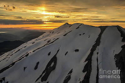 Photograph - Aerial Mount St Helens Crater Sunset by Mike Reid