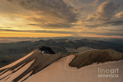 Photograph - Aerial Mount St Helens Edge Of The Crater And Rainier by Mike Reid