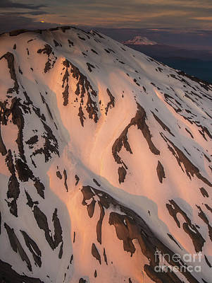 Photograph - Aerial Mount St Helens Sunset Light Down The Slopes by Mike Reid