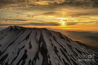 Photograph - Aerial Mount St Helens Sunset Light by Mike Reid