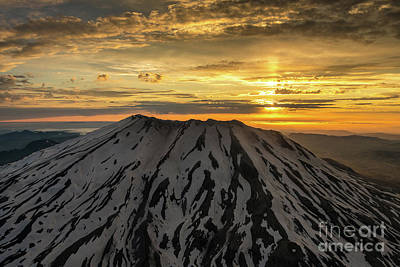 Photograph - Aerial Mount St Helens Sunset by Mike Reid