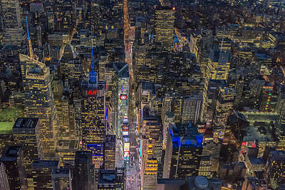 Times Square Photograph - Aerial New York City 42nd Street by Susan Candelario