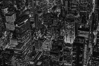 Aerials Photograph - Aerial New York City Skyscrapers Bw by Susan Candelario