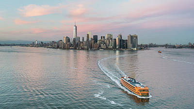 Ferry In New York Photograph - Aerial New York Sunset by Michael Lee
