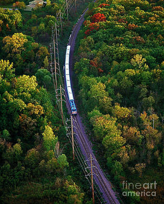 Photograph - Aerial Of  Commuter Train  by Tom Jelen