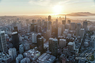 Photograph - Aerial Of Downtown District At Sunset, San Francisco, California by Matteo Colombo